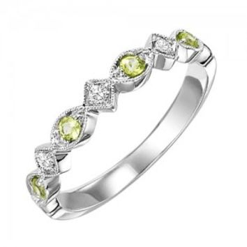 10k white gold diamond and peridot birthstone ring