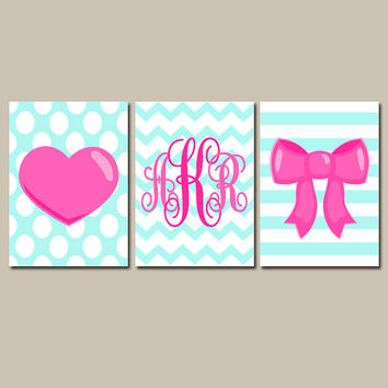 Girl Monogram Wall Art CANVAS or Prints Aqua Pink Heart Bow Polka Dot Chevron Baby Girl Nursery Monogram Initials Pink Girl Bedroom Set of 3