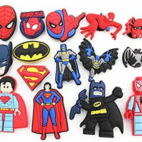 15pcs Spider-man Batman Superman Super Hero Shoe Charms for Fits Croc Shoes & Wristband