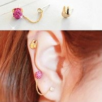 Cute Bunny Two Hole Tassel Asymmetric Earrings Set
