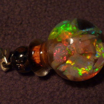 Mintabie Crystal Opal Floating Opals Vial Pendant Murano style Glass vial and cap. AAA Gem Grade Opal