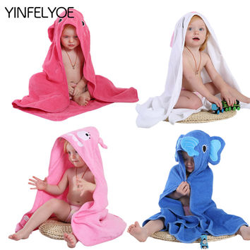 YINFELYOE Kids Towel 2017 Toddler 100% Cotton Bathrobe Baby Boy Girl Spring Animal Hooded Bath Towel Children Cartoon Towel QWA