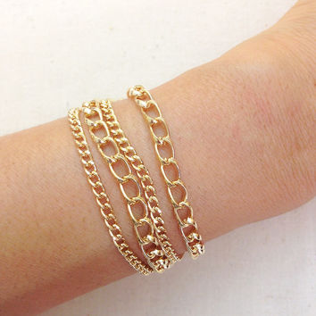 Gold Color Chain Bracelets #035