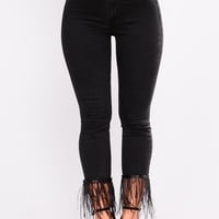 Birds Of A Feather Skinny Jeans - Black