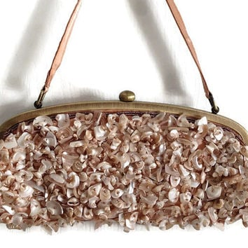 Purse Peach Satin Mother of Pearl and Beads Brass Frame and Closure satin Lining