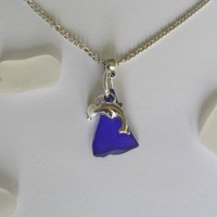 Blue Sea Glass Necklace with Dolphin