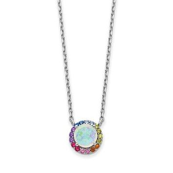 Sterling Silver Opal And Colorful Rainbow CZ Halo Necklace