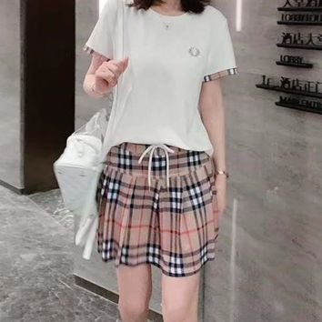 Woman's Leisure  Fashion Letter Printing  Spell Color Loose Short Casual Wear  Sleeve Plaid Skirt Two-Piece Set