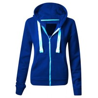 Fleece Modern Blue Hooded Sweatshirt  from One Vault