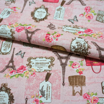Japanese cotton linen Paris print  50 cm by 106 cm or 19.6 by 42 inch  Half Meter A3