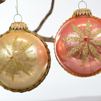 Kugelgruss Round Glass Christmas Ornaments Jeweled & Embellished West Germany
