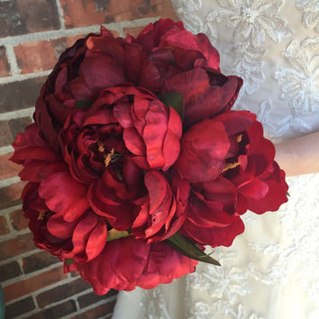 Red Peony Bouquet - Silk Peony Bouquet - Red Bouquet - Winter Bouquet - Fall Bouquet - Red Valentines Bouquet
