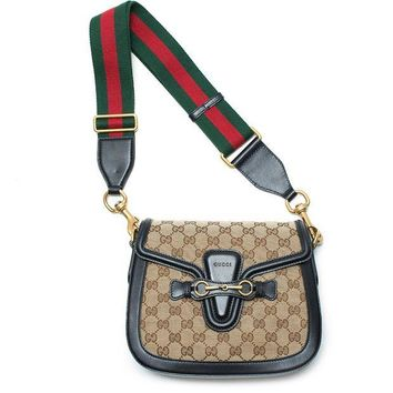 DCCKUG3 Gucci Lady Web GG Signature Authentic Black Leather Red Strap Italy New Bag