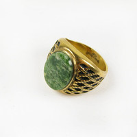 Vintage Ring 10K Gold Filled Clark and Coombs, Size 10.5 / Green Marbled Ring - Bague de Homme.