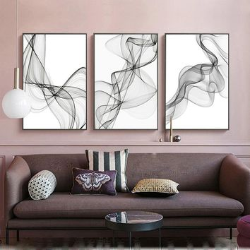 SURE LIFE Modern Minimalist Abstract Black And White Line Canvas Paintings Living Room Decor Entrance Poster Wall Art Pictures