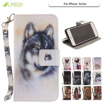 Limelan Cute Dog For iPhone 7 7Plus 6 6s Plus 5 5s Se Tiger Orchid Wallet Leather Stand Flip Phone Case Cover Coque Shell