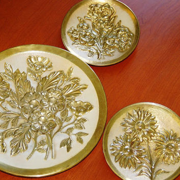 3 Mid Century Embossed Tin Plates, Decorative Gold and Cream Floral Wall Hanging Plates, Bohemian Wall Art, Gold Metal Art