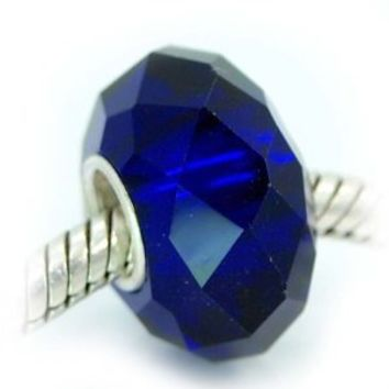 Pro Jewelry Silver Faceted Murano Glass Charm Bead for Snake Chain Charm Bracelets (Midnight Blue)