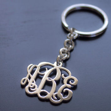"FREE SHIPPING USA 1.25""inch Monogram Keychain - 925 Sterling Silver 100% Handmade"