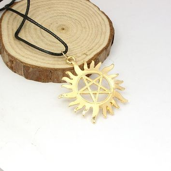 Speed sell through selling leather cord pendant necklace supernatural, dean of the gear