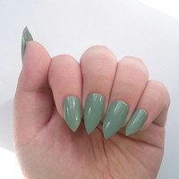 Short Stiletto False Nails / Mint Green Fake Glue On Nails / Winter Wedding / Autumn Green / Press On / Graduation / Prom Nails / Debs /