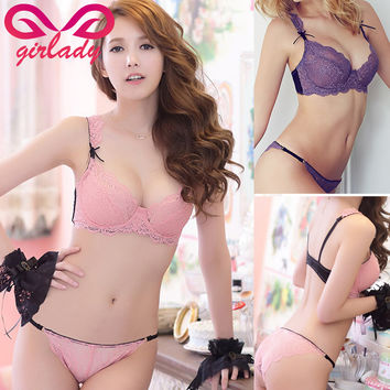 GIRLADY Lace Bra Set Women Translucent Sexy French Brand Pink Bra Panties Underwear Set See Through Women Bra And Panties Set