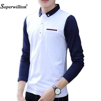 2017 Soperwillton Hot Sell Long Sleeve Contrast Patchwork Modal Jersey Polo Shirts Men Anti-Wrinkle Male Polos Ralph Shirt P0205