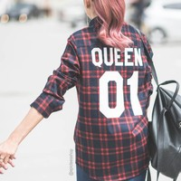 Queen 01 Red Plaid Shirt, Plaid Shirt, Flannel Shirt, UNISEX