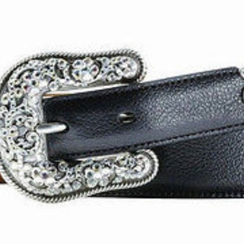 Ariat Women's Western Cheyenne Leather Belt-Black Deertan