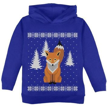 CREYCY8 Big Fox Ugly Christmas Sweater Toddler Hoodie