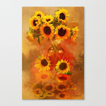Sunflower Splashes Canvas Print by Theresa Campbell D'August Art