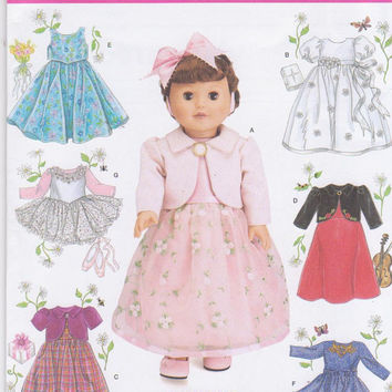 Elaine Heigl pattern for 7 complete outfits for 18 inch American Girl/Gotz doll skating dress, tutu, party dresses Simplicity 4364 UNCUT