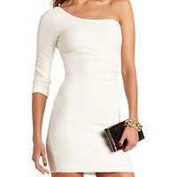 OFF-THE-SHOULDER SHIMMER BODY-CON DRESS