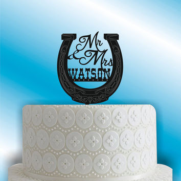 Country Wedding Cake Topper - Custom Wedding Cake Topper - Personalized Weddding  Cake Topper - Mr and Mrs - Western - Bride and Groom