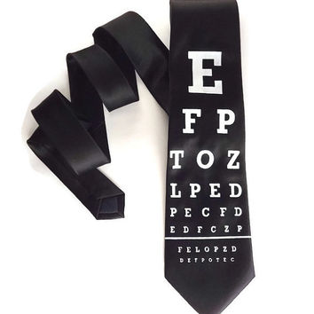 Eye chart tie, black and white, optometrist tie, eye doctor tie, doctor tie, vision test tie, snelden eye test, mens tie, womens tie,