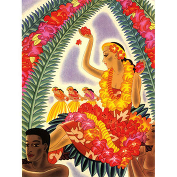 Hula And Lei by Artist Frank McIntosh Wood Sign