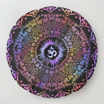 Dark Radiant Om Mandala Floor Pillow by inspiredimages
