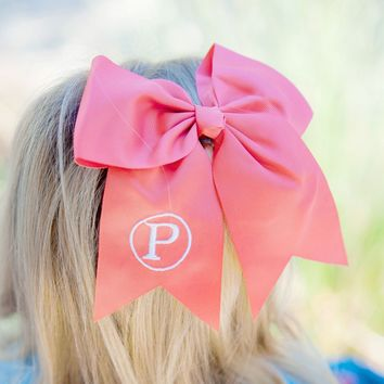 Coral Monogrammed Hair Bow