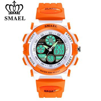 SMAEL Children 50m Waterproof Watches Cute Kids Sports Cartoon Watch for Girl Boys Rubber Band Digital LED Wristwatch Reloj