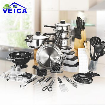 80 Piece Panelas De Ceramica Arrival Fda Top Fashion Real Cookware Cooking Pots And Pans Set Kitchen Starter Combo Utensil
