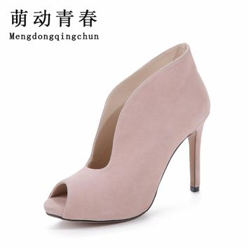 Fashion Classic Women Ankle Boots Summer Peep Toe High Heels Suede Boots Sandals Woman Shoes