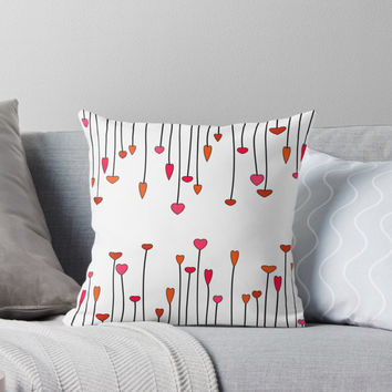 'Hearts growing up and hanging down' Throw Pillow by Foxeye Daisy