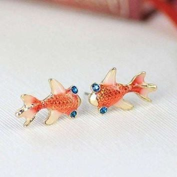 ON SALE - Gold Plated Goldfish Earrings with Blue Topaz Crystal Eyes
