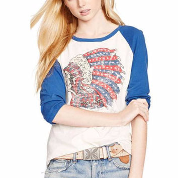 Tribal Headdress Three Quarter Raglan Sleeve T-Shirt