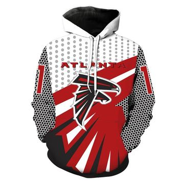 New Atlanta-Falcons Printed Hooded Hoodies 3D Men Women Unisex Sportwear Sweatshirts Autumn Pullover Casual Tracksuits Jacket