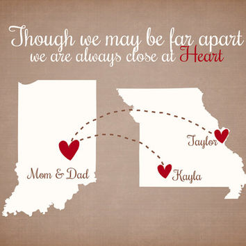 Though we May be Far Apart - Custom Family Quote Christmas Gift 8x10 Personalized Maps, Hearts, Quote, Unique Gift for Christmas, Friends