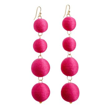 Pom Bon Earrings in Magenta
