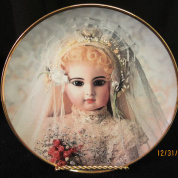 Doll Plate Franklin Mint, Brigitte, Fine Porcelain Limited Edition, Hanau Doll Museum Heirloom, made in Portugal, Vintage