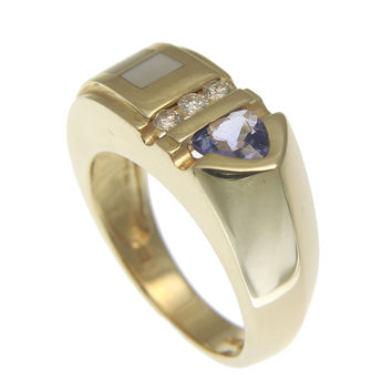 0.48CT GENUINE TRILLION TANZANITE MOTHER OF PEARL DIAMOND RING HEAVY 14K GOLD
