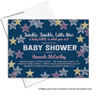 Girl baby shower invitations | twinkle twinkle little star invitation | navy pink gold baby shower invites | printed or printable - WLP00705